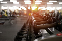 Different dumbbell weights in fitness center. Rows of different dumbbell weights in modern fitness center. Gym equipment background. Shallow depth of field Royalty Free Stock Image