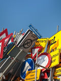 Different Dutch traffic signs against a blue sky Royalty Free Stock Images