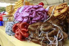 The different dye of silk yarn royalty free stock photography