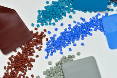 Different dyed plastic with samples Stock Photo