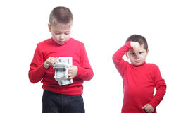 Different earnings. Two boys with different emotions isolated Stock Photo