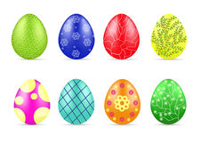 Different Easter eggs. Beautiful different Easter colorfull eggs with pattern. Spring holidays. Vector illustration Royalty Free Stock Photography