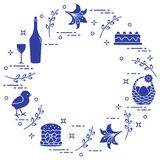 Different Easter symbols arranged in a circle: simnel cake, chick, lily, baskets, eggs and other. Design for banner, poster or. Print vector illustration