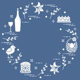 Different Easter symbols arranged in a circle: simnel cake, chick, lily, baskets, eggs and other. Design for banner, poster or print vector illustration