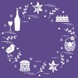 Different Easter symbols arranged in a circle: simnel cake, chick, lily, baskets, eggs and other. Design for banner, poster or print stock illustration