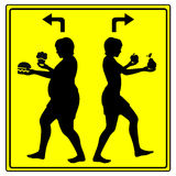 Different Eating Habits. Concept sign of either eating health food or junk food, stay slim or get fat Royalty Free Stock Images
