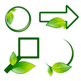 Different Eco Label Signs. With Green Leaves Over White Background Royalty Free Stock Photo
