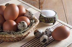 Different eggs in basket and on wooden table. Salt in saltshaker. Several large brown chicken eggs and small motley quail eggs on straw in wicker basket. Near stock photos