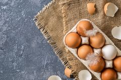 Different eggs in carton pack  on dark stone table Royalty Free Stock Photography
