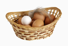 Different eggs lie in a basket. Eggs lie in a basket Royalty Free Stock Image