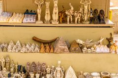 Different egyptian souvenirs for sale in a street shop stock photography