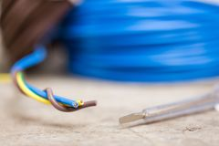 Different electric cables Royalty Free Stock Photos