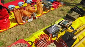 Electrical equipment and workwear put on fabric in field