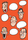 Different emotion faces with speech balloons vector set Stock Images