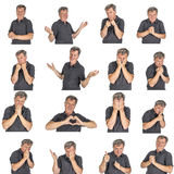 Different emotional studies of a mature man in studio Stock Images