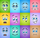 Different emotions with blue eyes on colored Stock Images