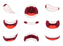 Different emotions of cartoon mouths with funny expressions. Funny cartoon mouth smile. Vector illustration royalty free illustration