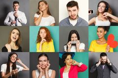 Diverse young people positive and negative emotions set. Different emotions collage. Set of male and female emotional portraits. Positive and negative feelings Royalty Free Stock Photo
