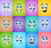 Different emotions on colored background Stock Photos
