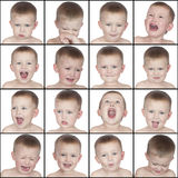 Different Emotions Cute Little Boy Stock Photography
