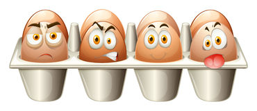 Different emotions eggs in cart Royalty Free Stock Photography