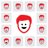 Different emotions & feelings of young man's face-vector graphic Royalty Free Stock Photo