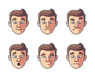Different emotions of one character. man`s face in color. vector illustration
