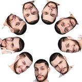 Different emotions of one man in cercle frame Royalty Free Stock Image