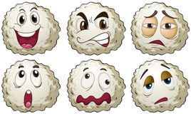 Different emotions on round balls. Illustration Stock Photo