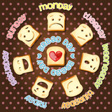 Different emotions of sliced bread in each day Stock Image