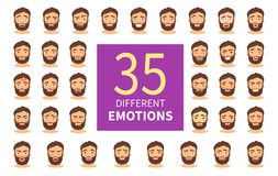 Different emotions. Vector set of cartoon characters with different emotions. A young man with a beard stock illustration