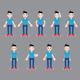 Different emotions of young man infographic Stock Image