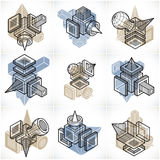 Different engineering constructions collection, abstract vectors Royalty Free Stock Photo