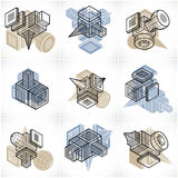 Different engineering constructions collection, abstract vectors Royalty Free Stock Photography