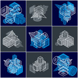 Different engineering constructions collection, abstract vectors Stock Photos