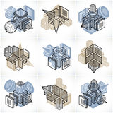 Different engineering constructions collection, abstract vectors Royalty Free Stock Image