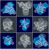 Different engineering constructions collection, abstract vectors Royalty Free Stock Photos