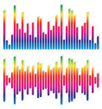 2 different equalizer, EQ graphics - Vertical bars, rectangles. Royalty free vector illustration vector illustration