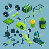 Different equipment for bodybuilding and powerlifting. Fitness accessories. For powerlifting and bodybuilding, sport, barbell and dumbbell. Vector illustration royalty free illustration