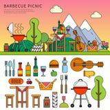 Different equipment for picnic stock illustration