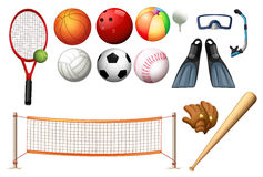 Different equipments for different sports. Illustration Royalty Free Stock Photo