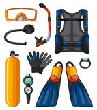 Different equipments for scuba diving Royalty Free Stock Images