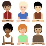 Different ethnic group children, boys. Colorful vector illustration Royalty Free Stock Image