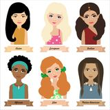 Different ethnic group children, girls. Colorful vector illustration Royalty Free Stock Photos