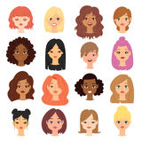 Different ethnic nationality affiliation woman head face vector icons. Woman emoji face icons cute different girl skin color symbols. Long and short haircut Stock Photography