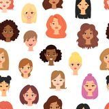 Different ethnic nationality affiliation woman head face vector icons seamless pattern. Different ethnic nationality affiliation woman head face vector icons Stock Images