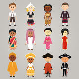 Different ethnic people. A vector illustration of different  ethnic people wearing their traditional costume Stock Image
