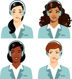 Different ethnic women operator of call center online customer support Stock Photo