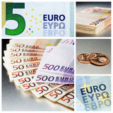Different euro bank notes and euro cent coins Royalty Free Stock Photo