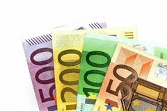 Different euro banknotes arrayed on a table. Royalty Free Stock Photo
